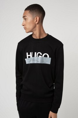 Interlock-cotton sweatshirt with new-season logo, Black