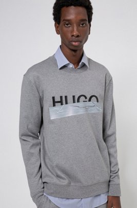 Interlock-cotton sweatshirt with new-season logo, Silver