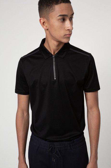 Slim-fit zip-neck polo shirt in mercerized cotton, Black