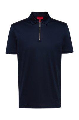 Slim-fit zip-neck polo shirt in mercerized cotton, Dark Blue