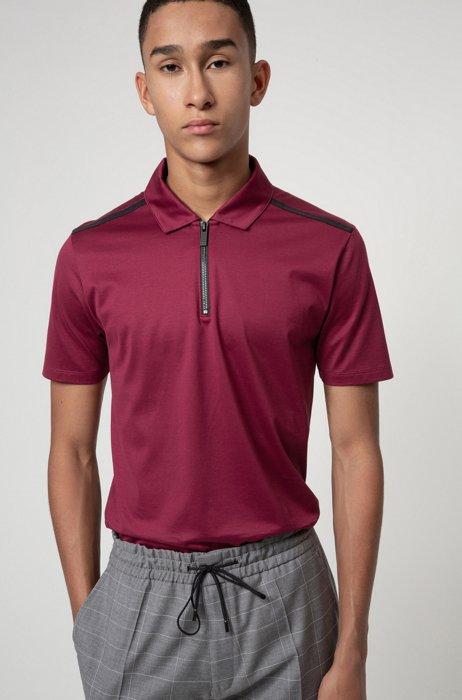 Slim-fit zip-neck polo shirt in mercerized cotton, Dark Red