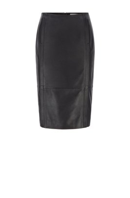 Leather pencil skirt with feature seaming and concealed zip, Black