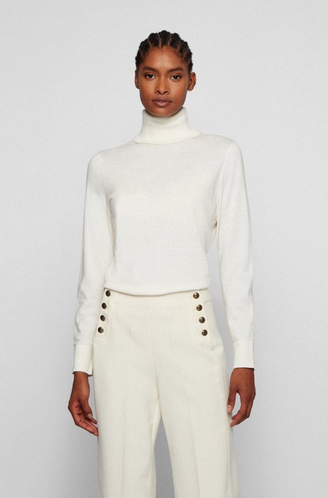 Slim-fit rollneck sweater in cotton, silk and cashmere, White