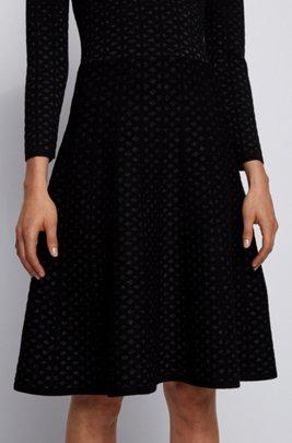 Jacquard-knit long-sleeved dress with degradé effect, Black