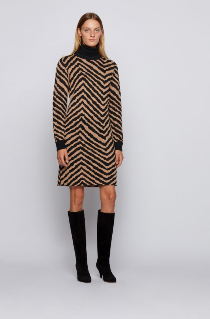 Jacquard-knit dress with collection-themed chevron pattern