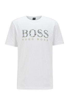 Crew-neck T-shirt in cotton with animal-print logo, White