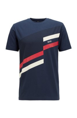 Stretch-cotton T-shirt with color-blocked print, Dark Blue