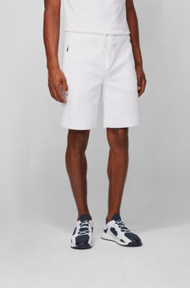 Jersey shorts with reflective details, White