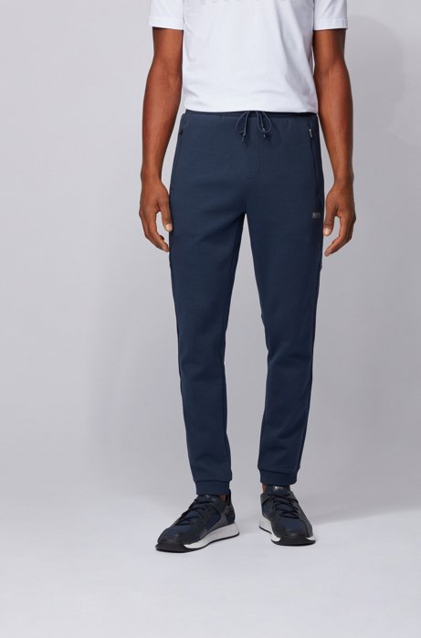 Slim-fit jogging pants with reflective details, Dark Blue