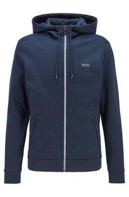 Zip-through hooded sweatshirt with reflective logo, Dark Blue