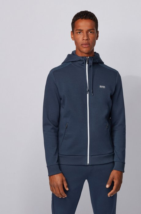 Zip-through hooded sweatshirt with reflective logo, Dark Blue