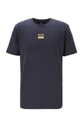 Crew-neck T-shirt in stretch cotton with logo print, Dark Blue