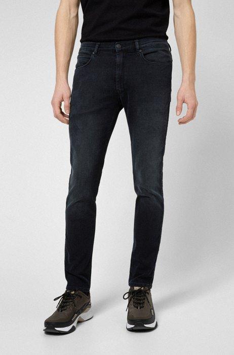 Extra-slim-fit jeans in blue-black stretch denim, Dark Blue