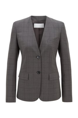 Collarless checked jacket in a stretch virgin-wool blend, Patterned