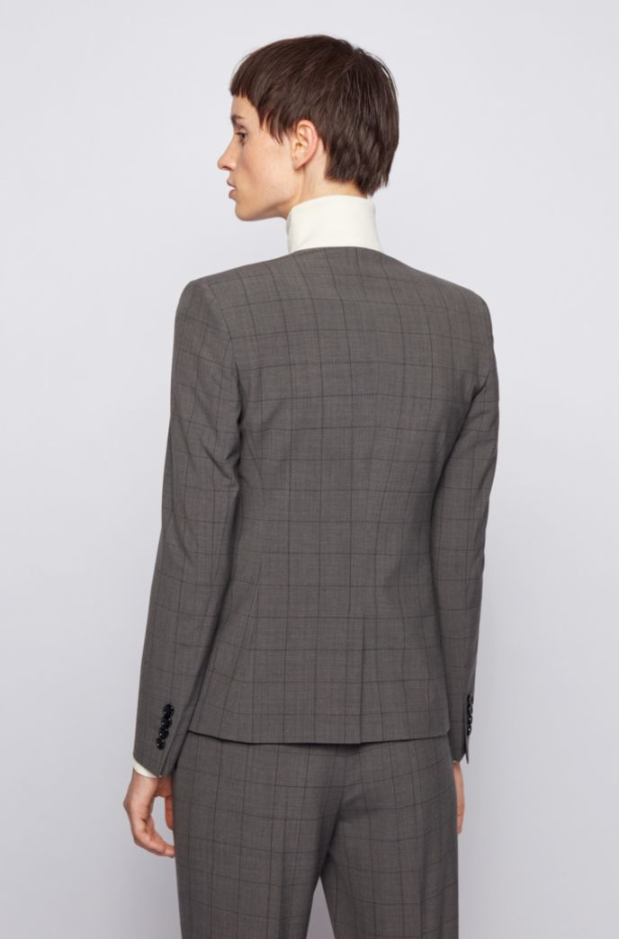 Collarless checked jacket in a stretch virgin-wool blend