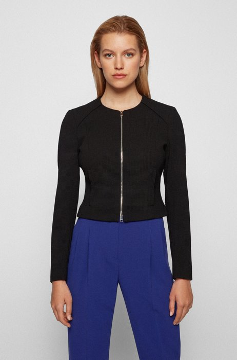 Regular-fit cropped jacket with mini houndstooth pattern, Black