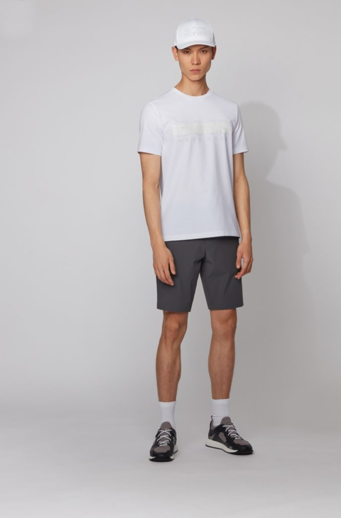 Crew-neck T-shirt in stretch cotton with reflective logo