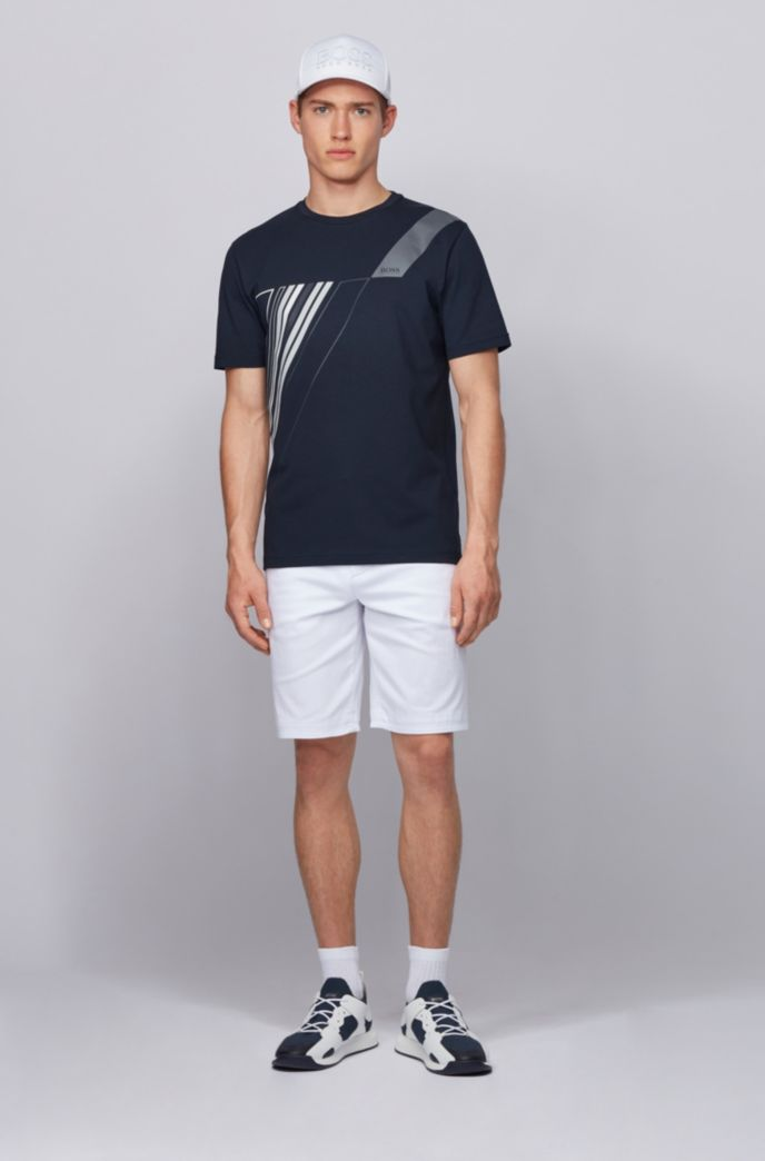 Crew-neck T-shirt in stretch cotton with reflective artwork