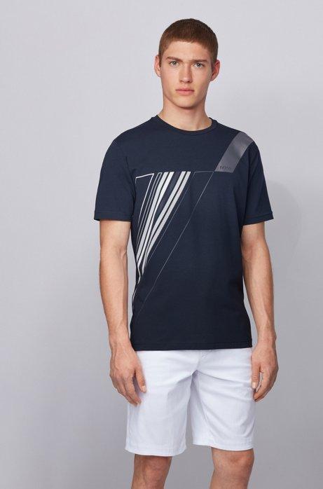 Crew-neck T-shirt in stretch cotton with reflective artwork, Dark Blue