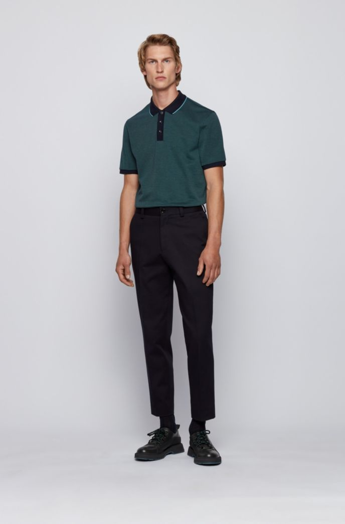 Patterned polo shirt in pure cotton with tipped collar