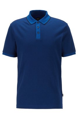 Patterned polo shirt in pure cotton with tipped collar, Dark Blue