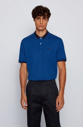 Cotton polo shirt with contrast details, Dark Blue