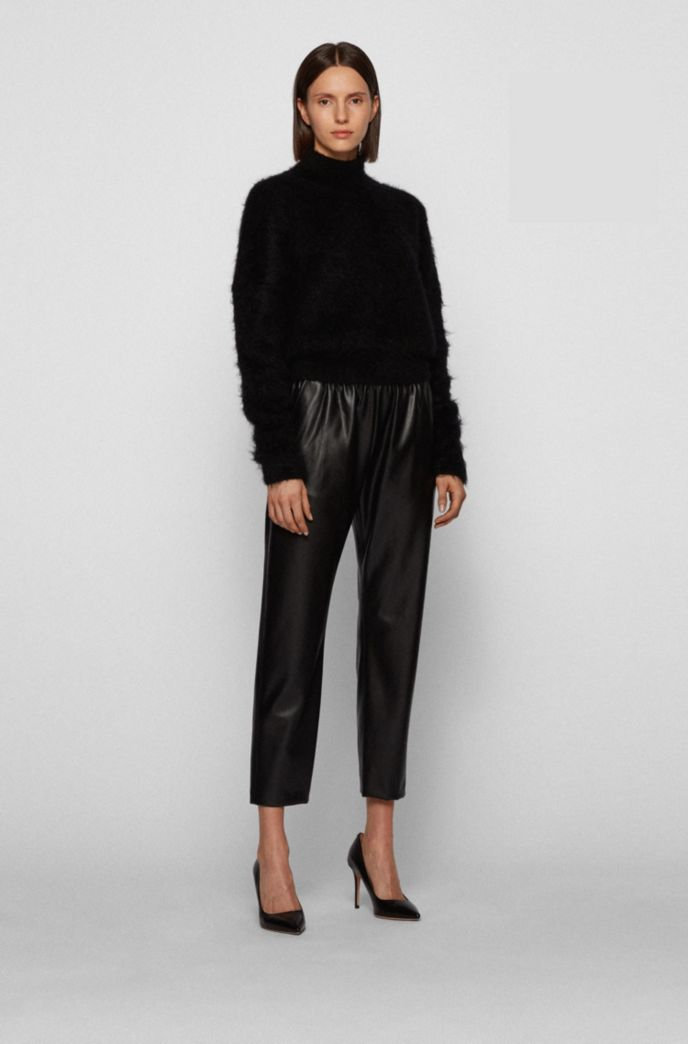 Regular-fit jogging pants in faux leather