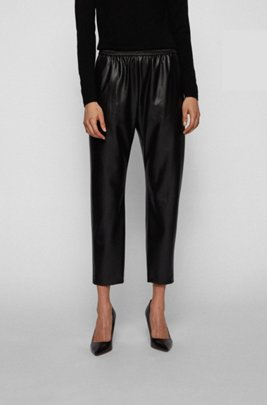 Regular-fit jogging pants in faux leather, Black