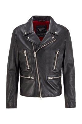 Regular-fit leather jacket with reverse lapels, Black