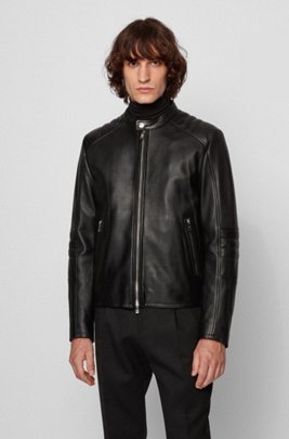 Regular-fit leather jacket with quilted sleeves, Black