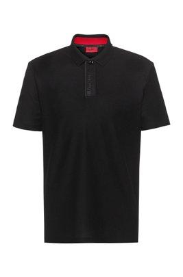 Cotton-piqué polo shirt with Aircool finishing, Black