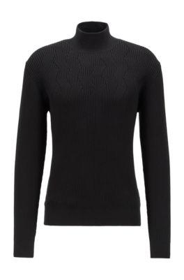 Rollneck sweater in organic cotton, Black