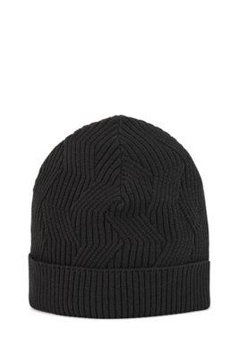 Monofibre beanie hat in organic cotton, Black