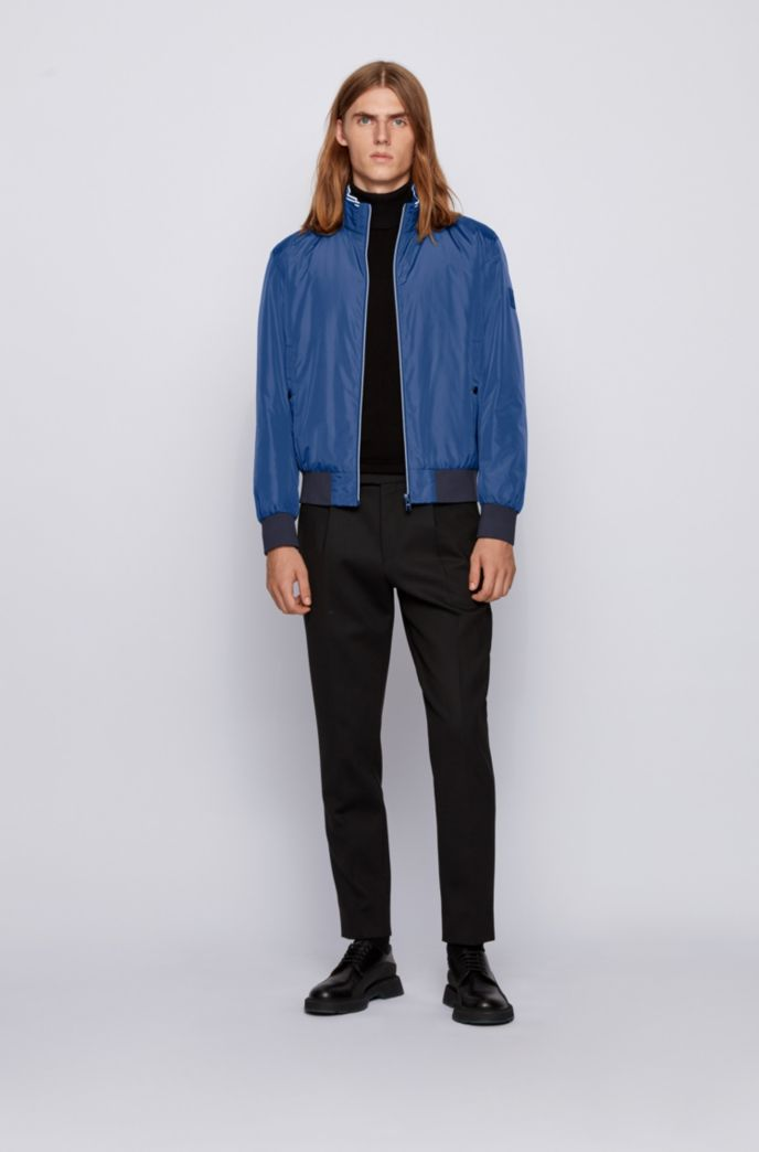 Padded blouson jacket in lustrous fabric with striped detailing