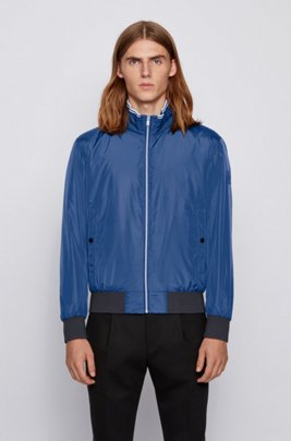 Padded blouson jacket in lustrous fabric with striped detailing, Dark Blue