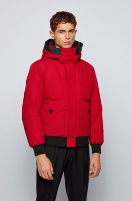 Hooded down jacket in water-repellent fabric, Red