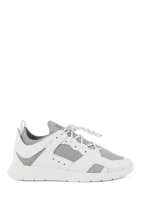 Leather-trimmed trainers with reflective knit, White
