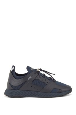 Leather-trimmed trainers with reflective knit, Dark Blue