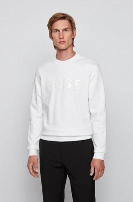 Mercerised terry cotton sweatshirt with glossy 3D logo, White