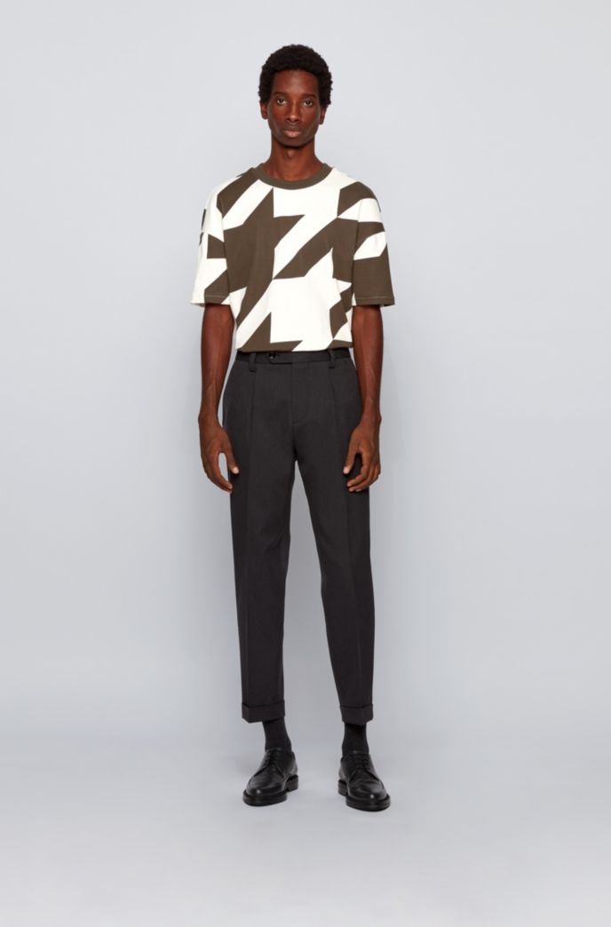 Stretch-cotton T-shirt with oversize houndstooth pattern