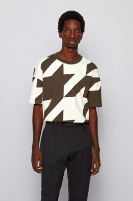 Stretch-cotton T-shirt with oversize houndstooth pattern, White