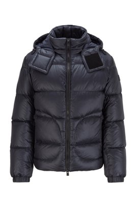 Water-repellent down jacket with logo-tape trim, Dark Blue