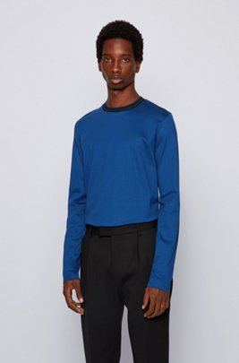 Slim-fit T-shirt in cotton with structured collar, Dark Blue