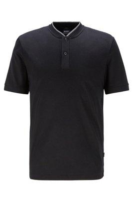 Baseball-collar polo shirt in mercerized cotton, Black