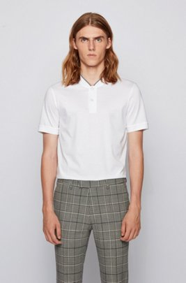 Baseball-collar polo shirt in mercerized cotton, White