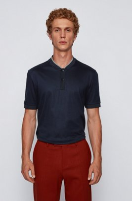 Baseball-collar polo shirt in mercerized cotton, Dark Blue
