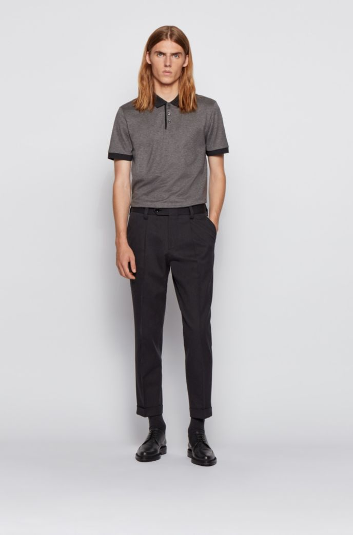 Structured-stripe polo shirt in mercerized mouliné cotton