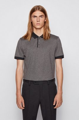 Structured-stripe polo shirt in mercerized mouliné cotton, Silver