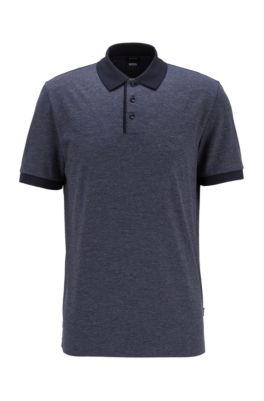 Structured-stripe polo shirt in mercerized mouliné cotton, Dark Blue