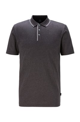 Slim-fit polo shirt in cotton with tipping stripes, Light Grey